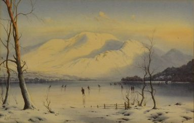 • Edward H Thompson 'Skaters on a frozen lake in the Lake District' (one of a trio) – Sold for £2,500