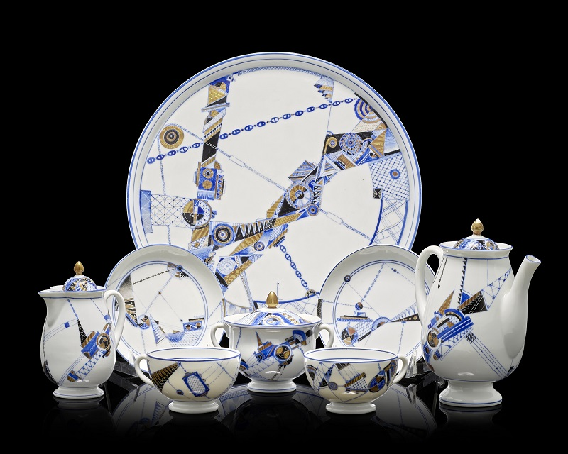 An early Soviet porcelain tea service decorated with industrial motifs Lomonosov Porcelain Factory, Leningrad, 1931