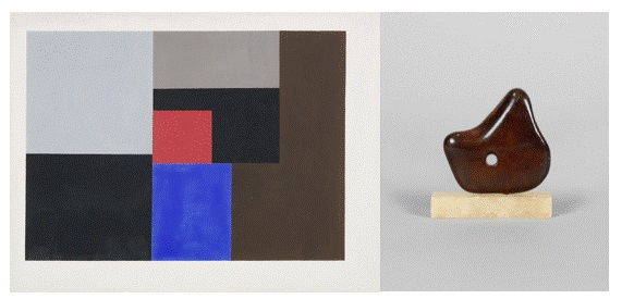 1936 (gouache) by Ben Nicholson, and Dame Barbara Hepworth, Mother and Child,