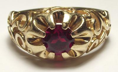 Mens Gold Ring With A C In A Circle And A Sunstar