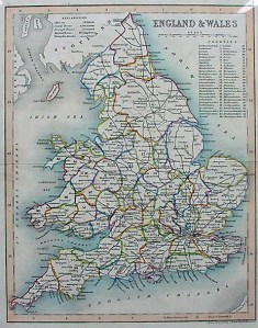 Old map of England and Wales   Joshua Archer 1850 Old map of England and Wales by Joshua Archer 1850