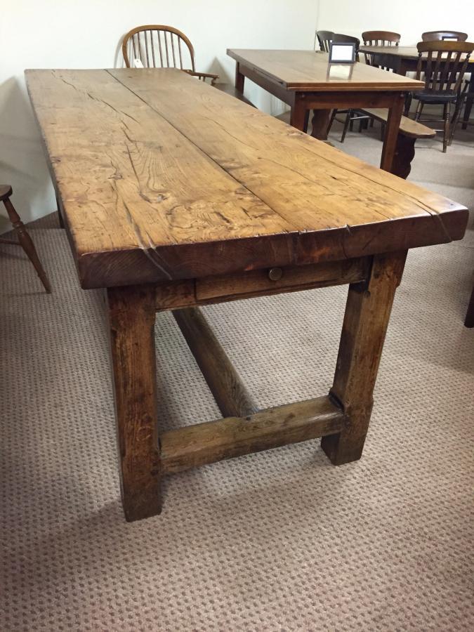 Rustic Refectory Elm Antique Farm House Table Antique