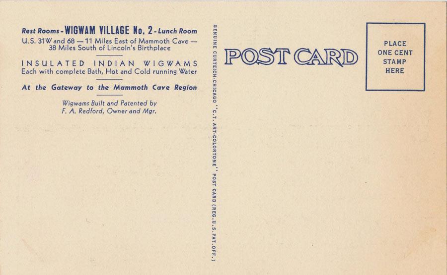 Vintage postcard advertising Wigwam Village #2 (Back) / Image from Clarence Melvin