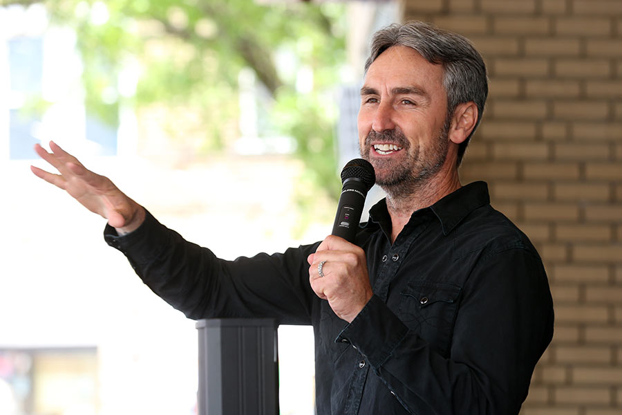 Mike Wolfe speaks outside the Variety Theatre