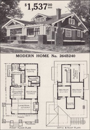 Sears Craftsman style House   Modern Home 264B240   The Corona     1916 Sears   No  264B240
