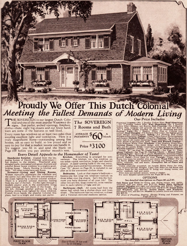 Montgomery Ward Kit Homes 1930 Dutch Colonial Revival