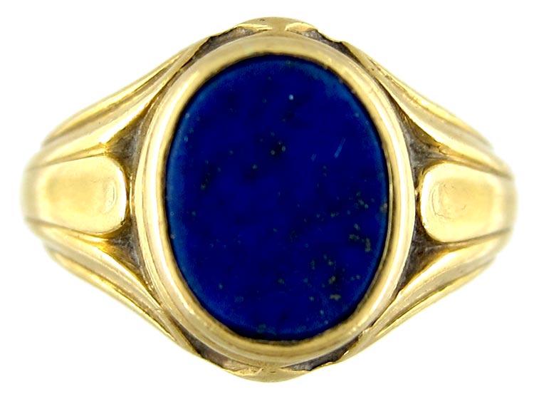 Lapis Lazuli 18ct Gold Signet Ring The Antique Jewellery
