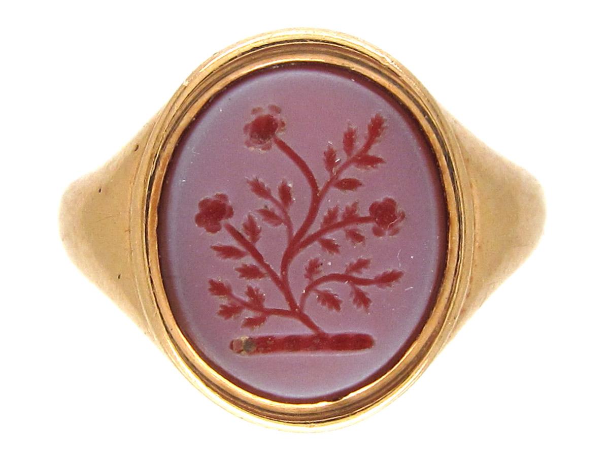 18ct Gold Carnelian Intaglio Signet Ring The Antique