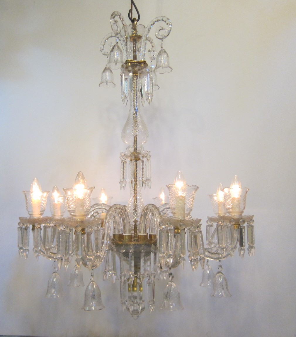 run of two reproduction crystal chandeliers