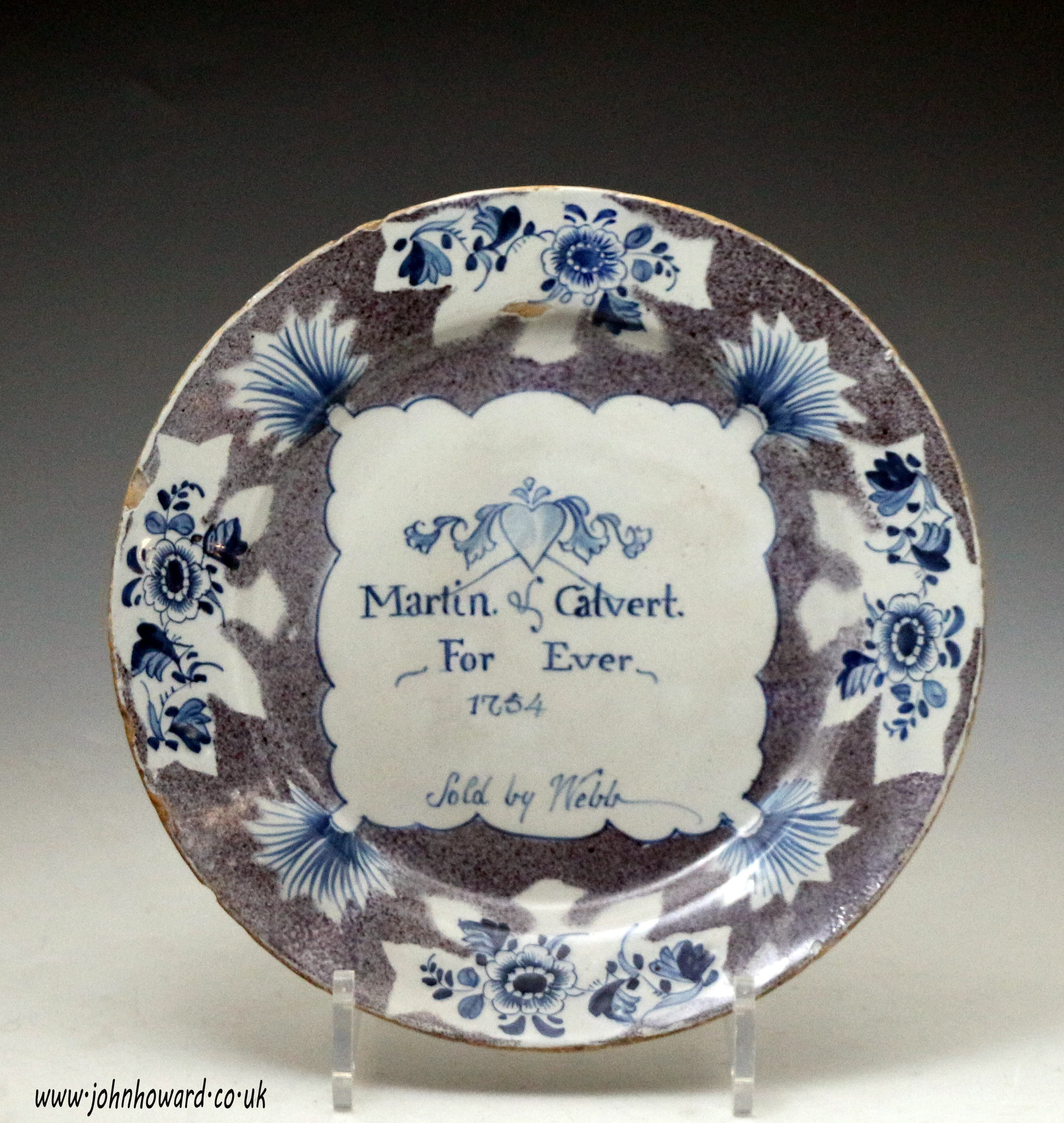 English Delft Pottery Election Plate Dated With The