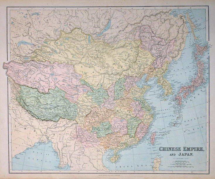 Free stock images for genealogy and ancestry researchers  Chinese Empire and Japan  by J Bartholomew  published in Philip s General  Atlas of the World  1867  Large colour lithographic map with centrefold as