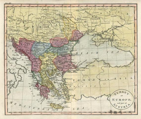 Free stock images for genealogy and ancestry researchers  Turkey in Europe  and part of Austria  copper engraved map with original  hand colour  published in An Atlas to Guthrie s Geographical Grammar  1818
