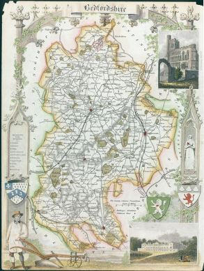 Old and antique prints and maps  Bedfordshire  Moule map  1850     Bedfordshire  Moule map  1850