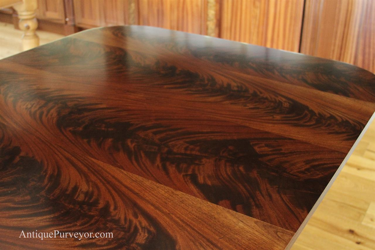 10 To18 Foot Large Triple Pedestal Mahogany Dining Table