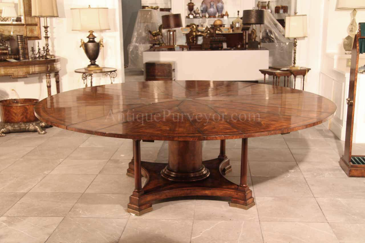 round mahogany radial dining table with jupe patent action: dining table that seats 10