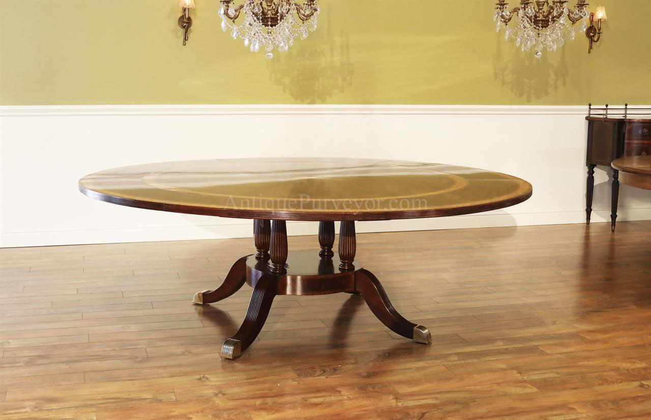 Large Formal AmpTraditional Round Mahogany Dining Table W Leaves
