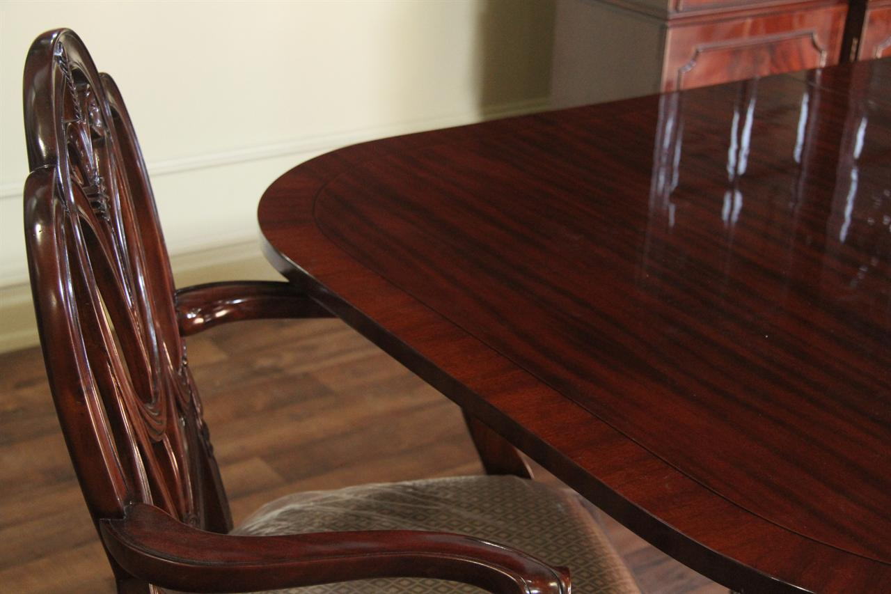 Traditional Formal Red Mahogany Dining Table Seats 14 People
