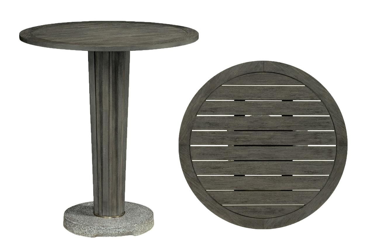 outdoor bar height cocktail table gray teak coated finish