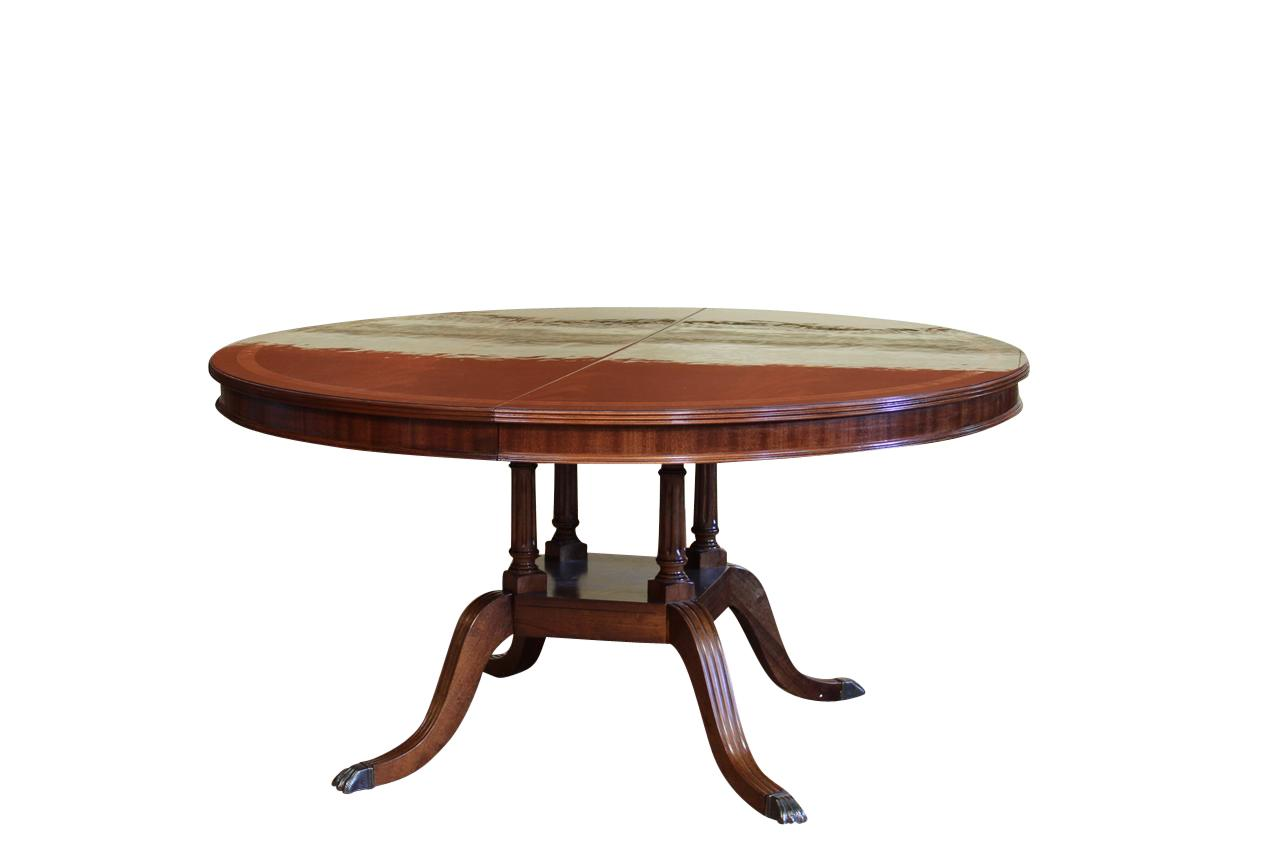 Round To Oval Mahogany Dining Table With Leaf