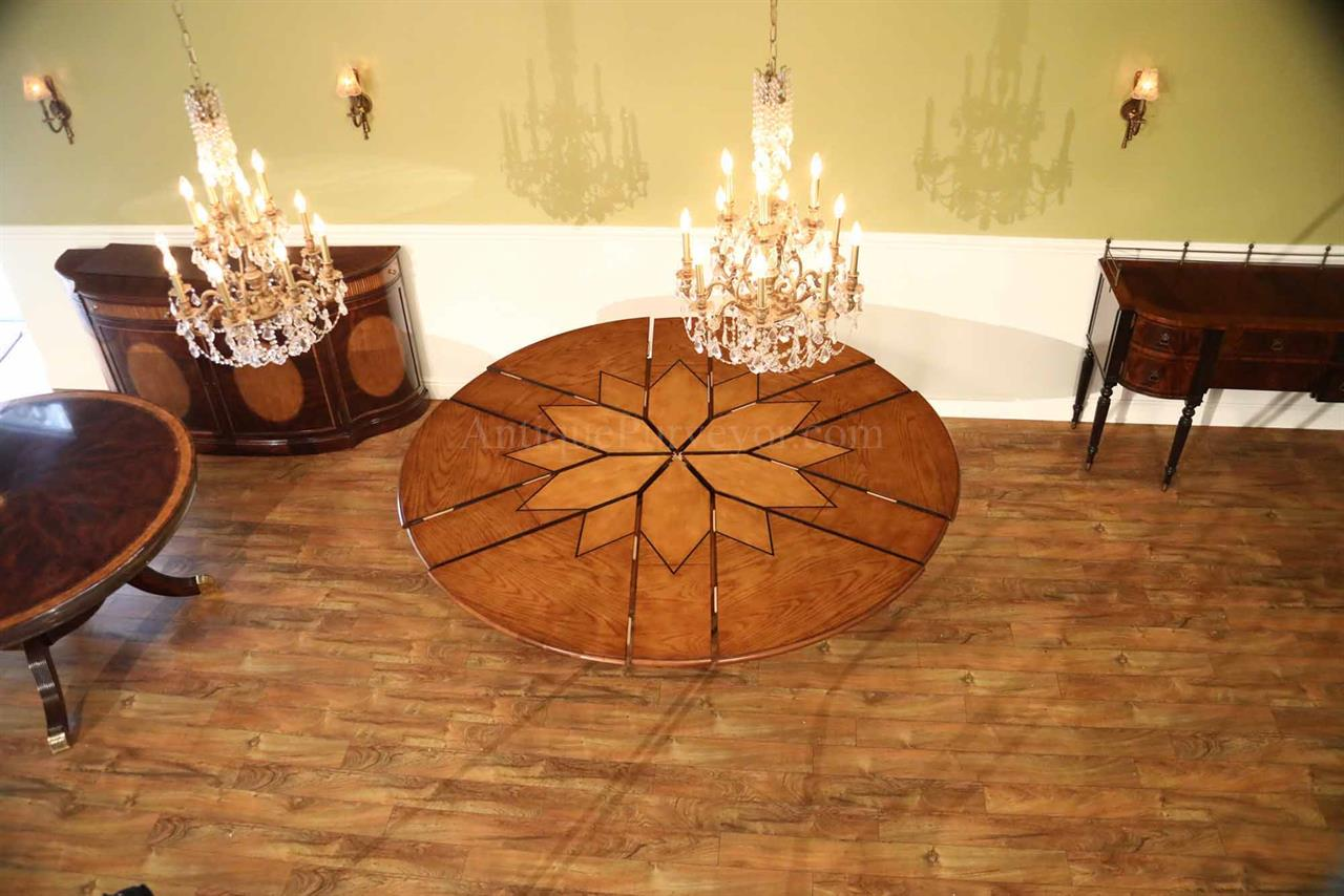 Solid Walnut Round Arts And Crafts Expandable Dining Room