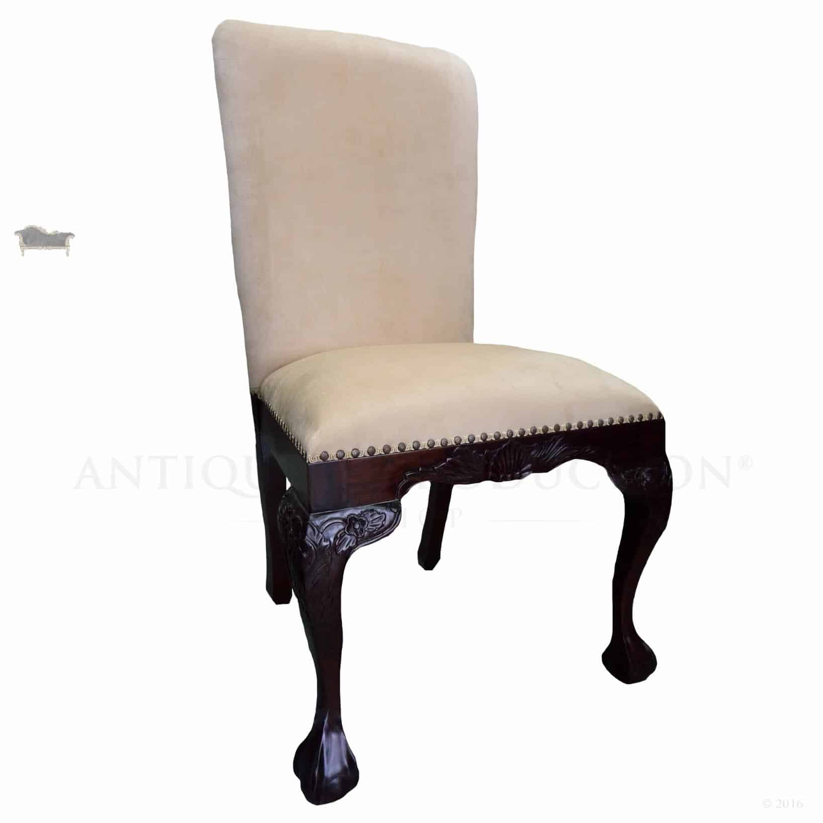 Chippendale Upholstered Dining Chair Antique