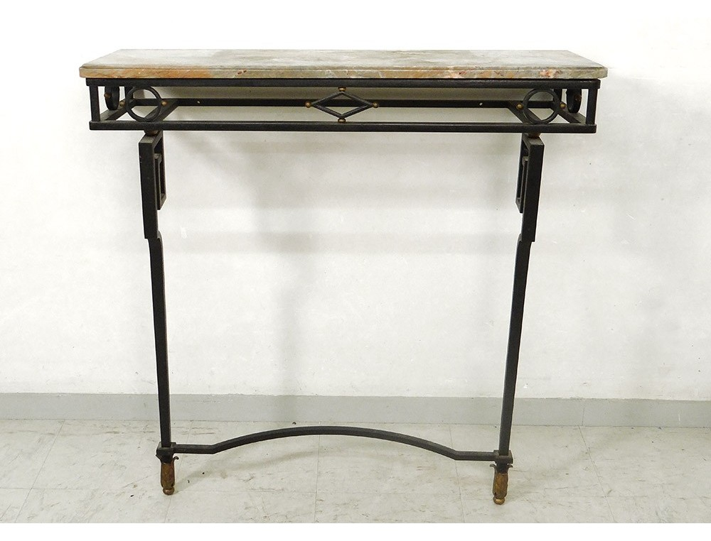 console art deco wrought iron top