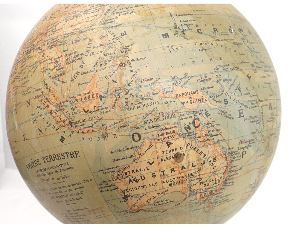 Large world map globe Barbot geographer editor Ikelmer Paris 19th