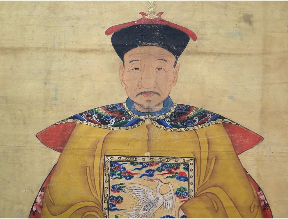 Paire Grandes Peintures Portraits Dignitaire Mandarin