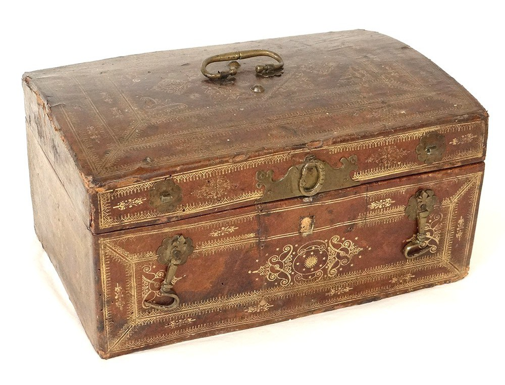 Leather Box Box Gilded Antique Iron Casket Flowers French
