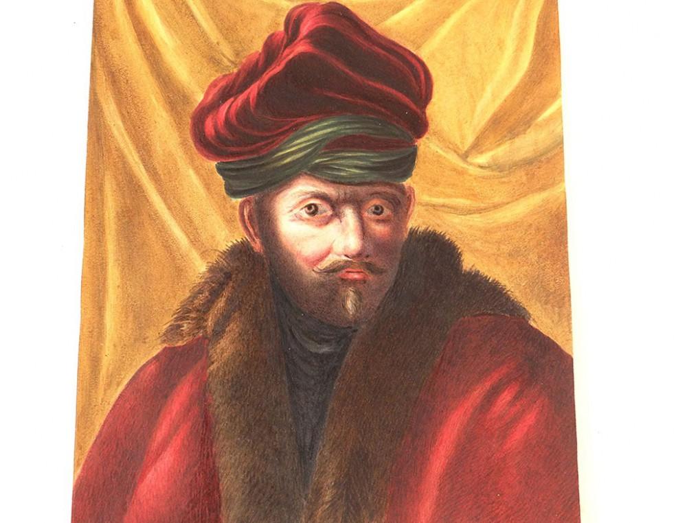gouache portrait homme russe turban