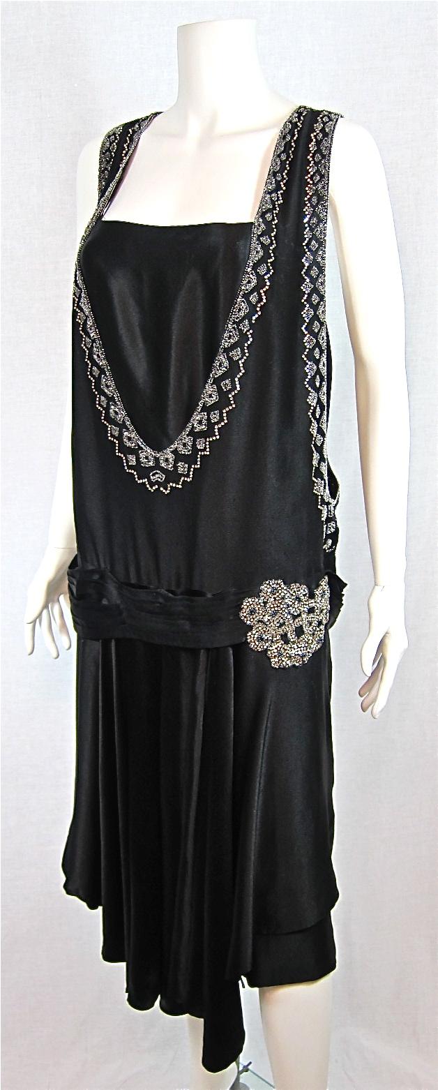 1920s SATIN RHINESTONE & BEADED FLAPPER DRESS For Sale ...