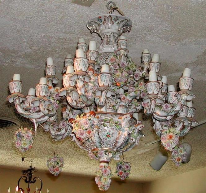 Beautiful German Porcelain Chandelier P For