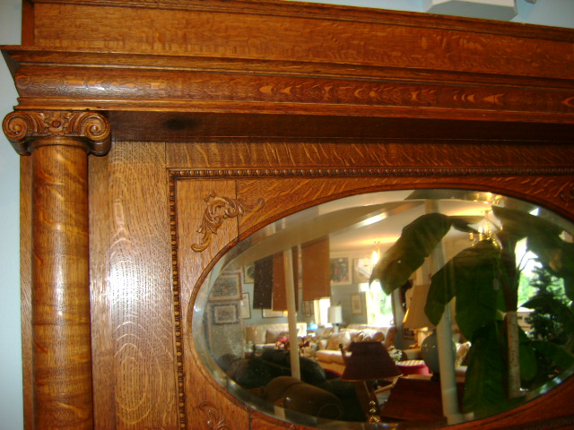 Tiger oak mantel