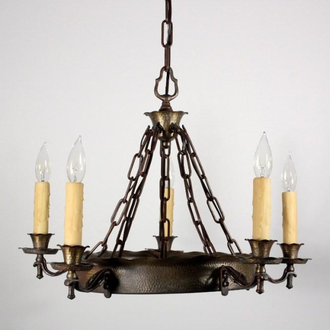 Handsome Antique Spanish Revival Five Light Chandelier C 1920s - Antique Spanish Chandelier Chandelier Ideas