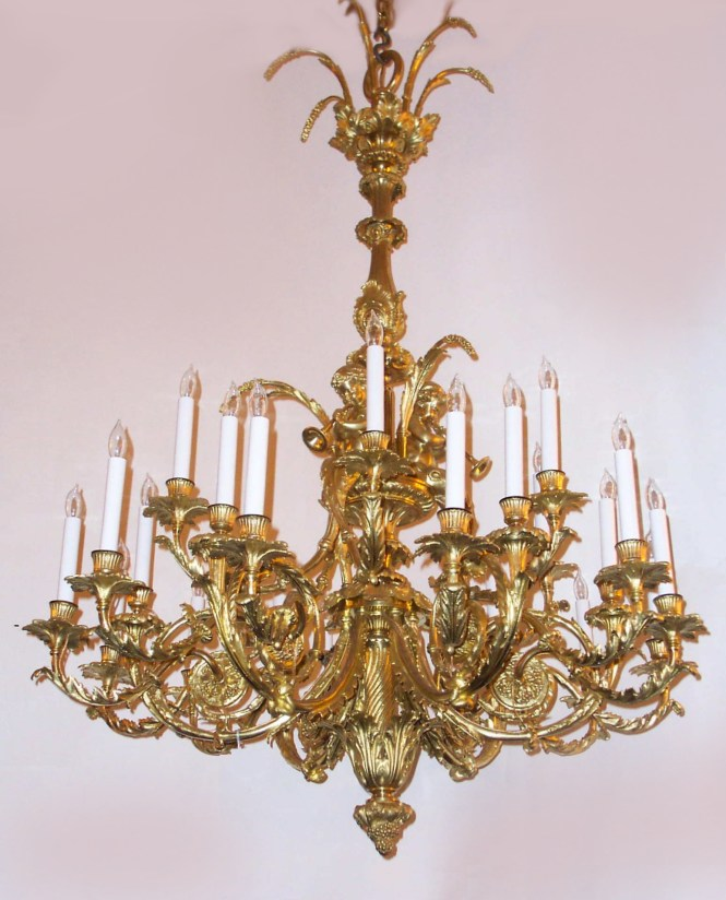 Antique French Louis 16th Gold Bronze Marie Antoinette Chandelier Chb17 For