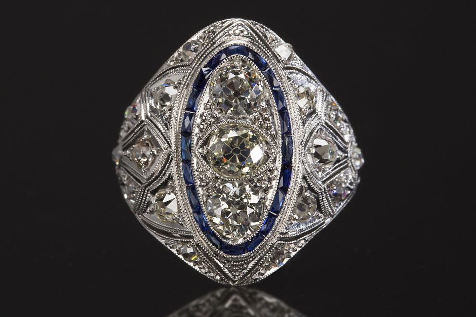 Art Deco Ring Set with Old European Cut Diamonds