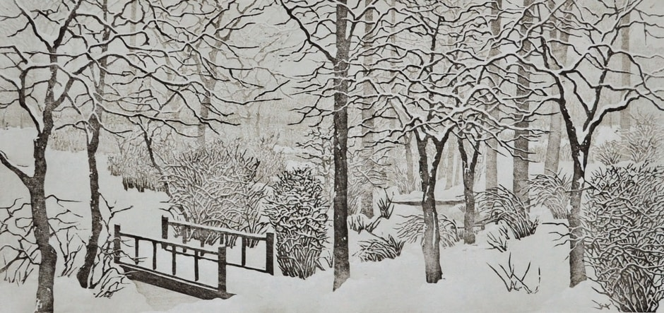 """Limited Edition Landscape Woodblock Print Titled """"Snow Day"""""""