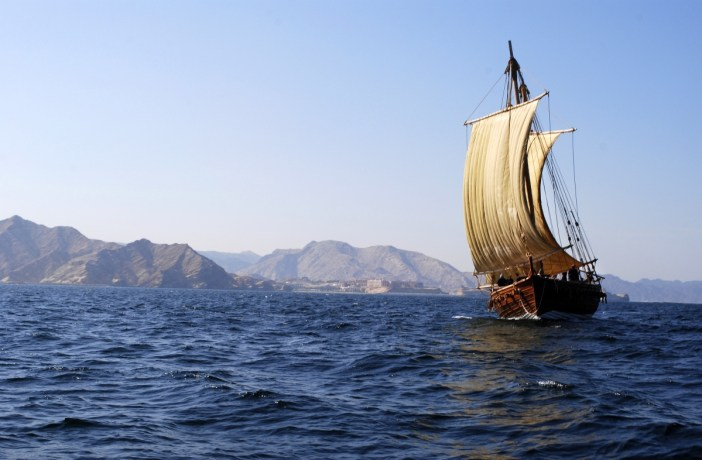 The Jewel of Muscat, a ship constructed based on the Belitung wreck and evidence of early West Asian shipbuilding, during sea trials off Oman. —Michael Flecker photo