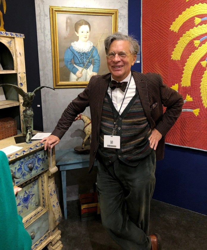 Boston dealer Stephen Score with a few of his favorite things. The pastel on paper portrait of young Edward Cooper, later the 83rd mayor of New York City, is by Micah Williams.