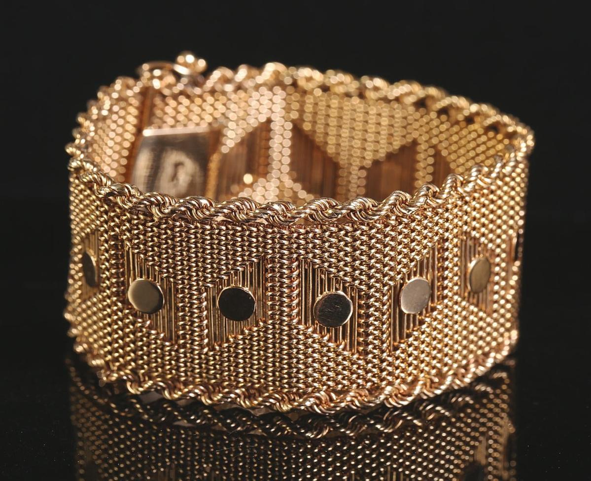 5898099 Mid-Century Design Yellow Gold Bracelet, 18k Gold