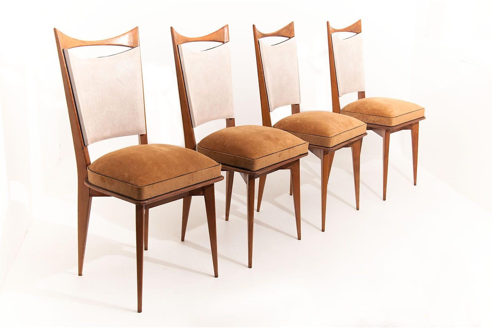lot de 4 chaises italiennes vintage 1950 dans le style de ico parisi