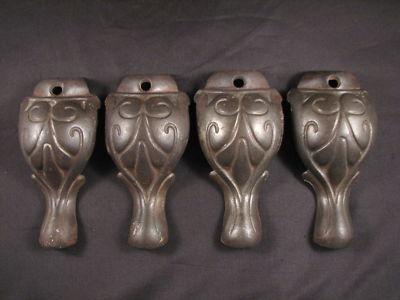 Set Of 4 Black Cast Iron Antique Stove Legs Re Purpose Steunk