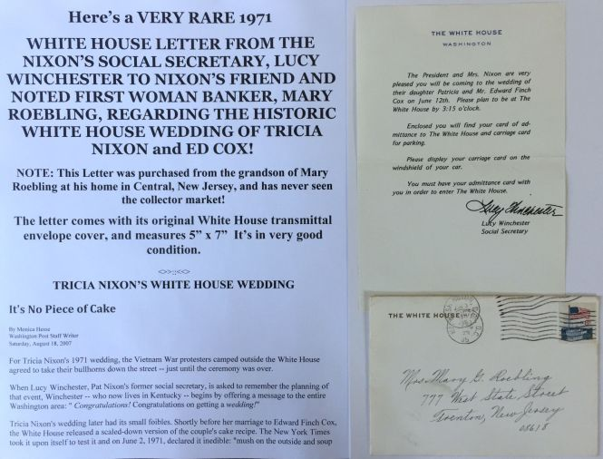President Nixon White House Tricia Wedding Invitation 1971