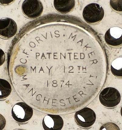 1874 Orvis patent reel second model with end cap patent detail