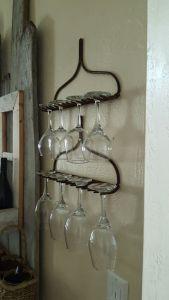 Country decor, rake head, wine glass holder