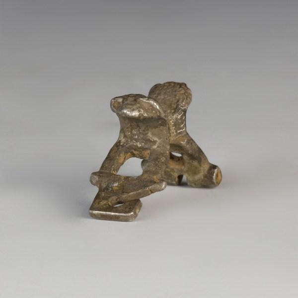 Roman Silver Lion Heads Brooch