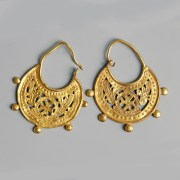Pair of Byzantine Gold Earrings with Cross and Doves