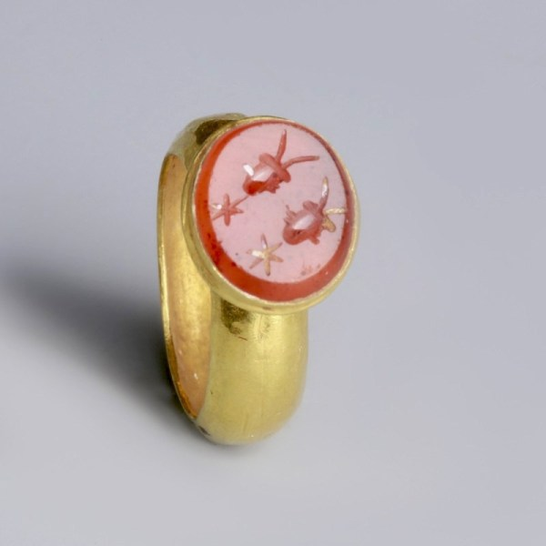 Roman Gold Ring with Stars and Caps of the Dioscuri
