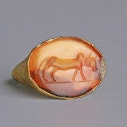 Roman Gold Ring with Zebu Intaglio