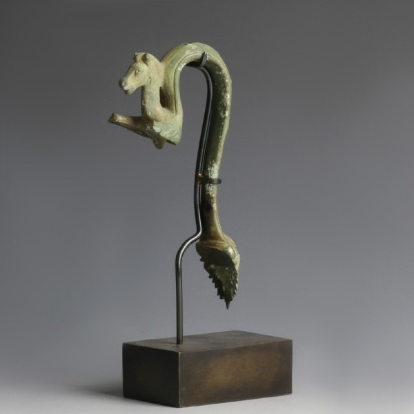 Superb Roman Handle of a Satyr and Horse